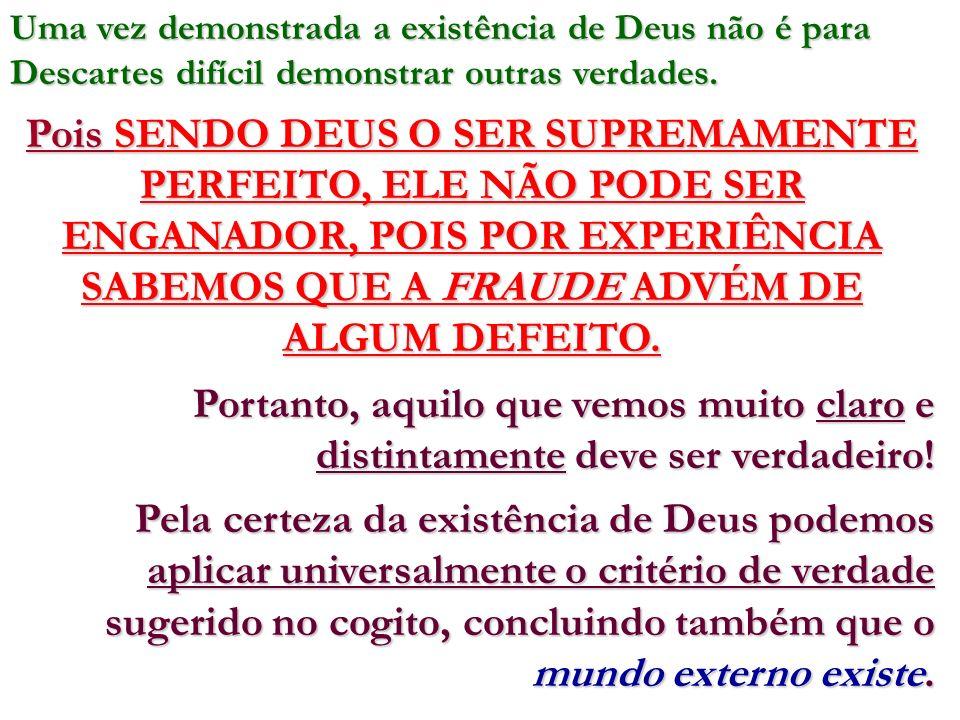 Uma vez demonstrada a existência de Deus não é para Descartes difícil demonstrar outras verdades.