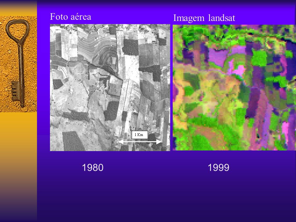 Foto aérea Imagem landsat 1980 1999