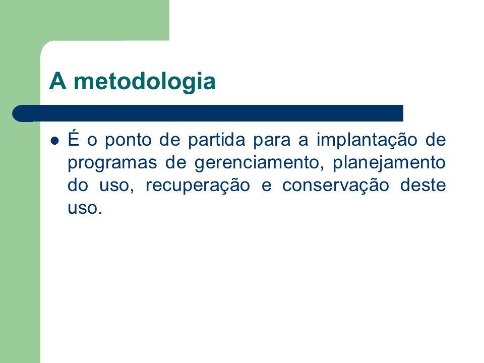 A metodologiaÉ o ponto de partida para a implantação de programas de gerenciamento, planejamento do uso, recuperação e conservação deste uso.
