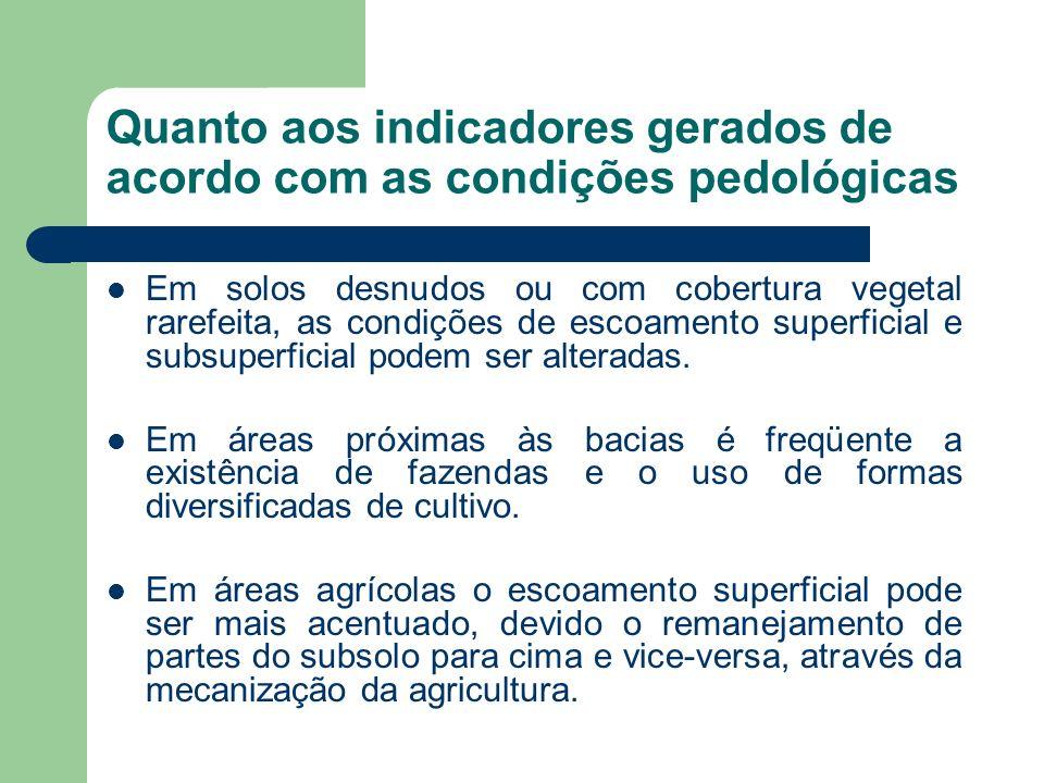 Quanto aos indicadores gerados de acordo com as condições pedológicas