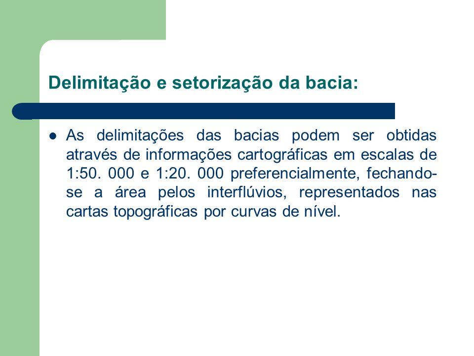 Delimitação e setorização da bacia: