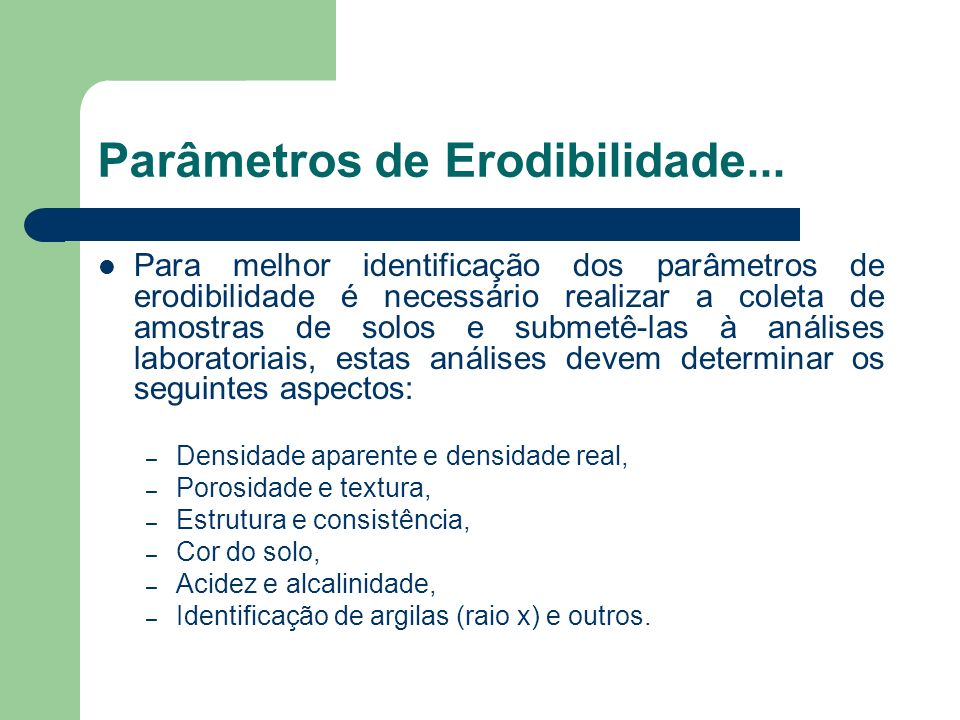 Parâmetros de Erodibilidade...