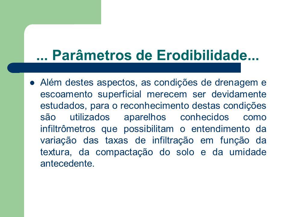 ... Parâmetros de Erodibilidade...