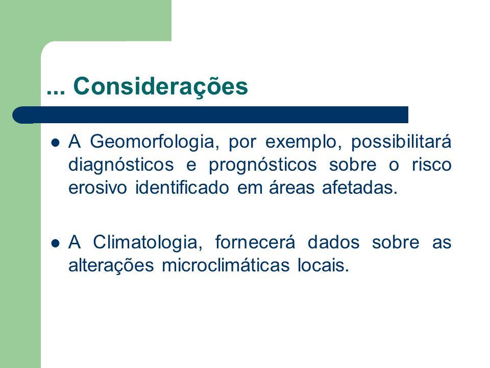 ... ConsideraçõesA Geomorfologia, por exemplo, possibilitará diagnósticos e prognósticos sobre o risco erosivo identificado em áreas afetadas.