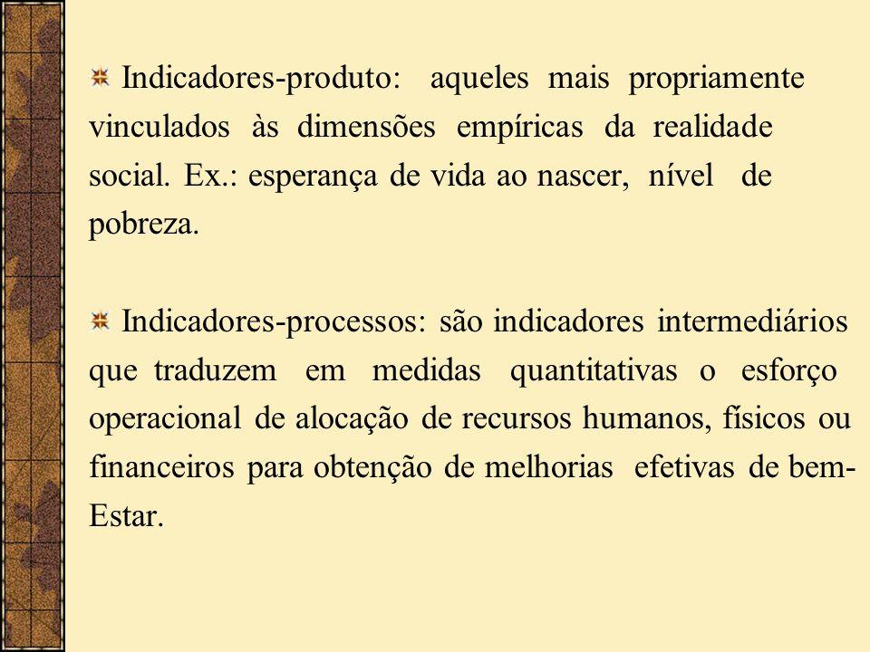 Indicadores-produto: aqueles mais propriamente