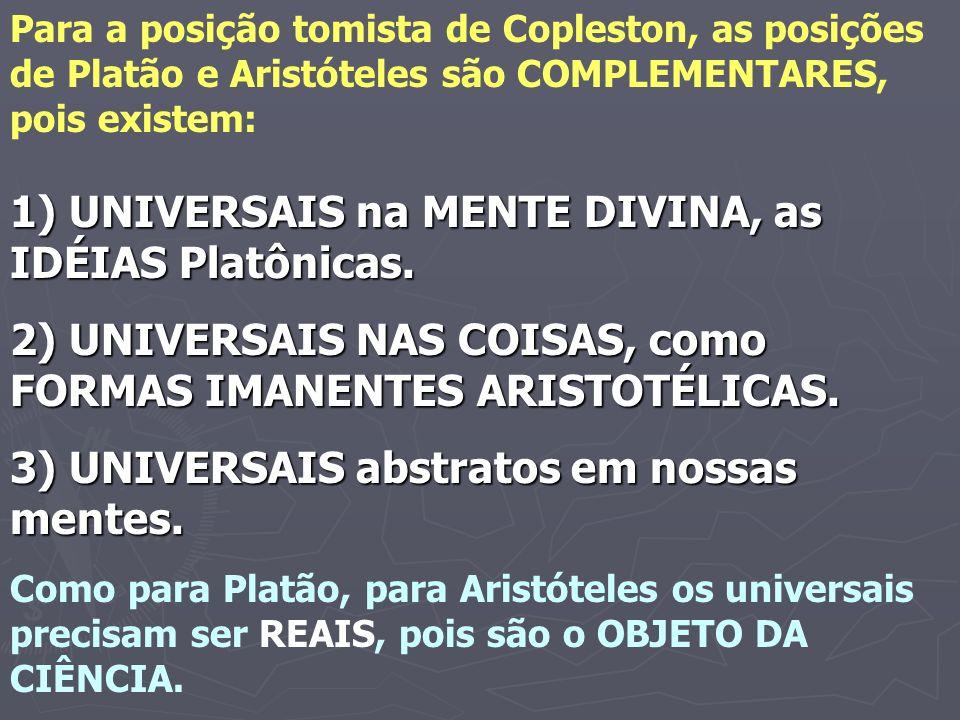 1) UNIVERSAIS na MENTE DIVINA, as IDÉIAS Platônicas.
