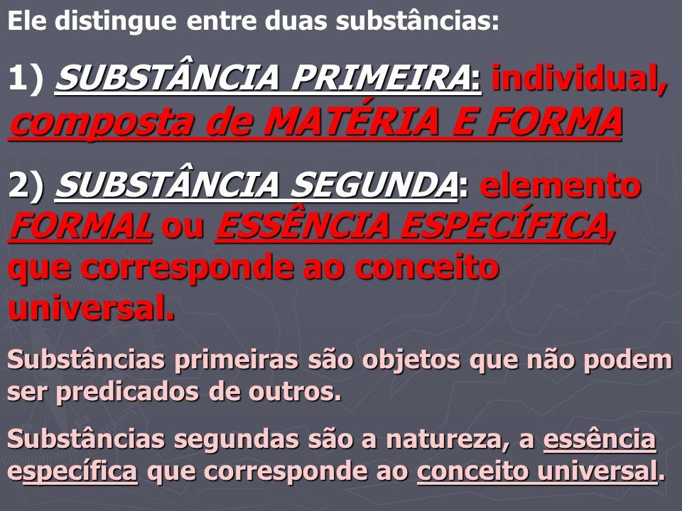 1) SUBSTÂNCIA PRIMEIRA: individual, composta de MATÉRIA E FORMA