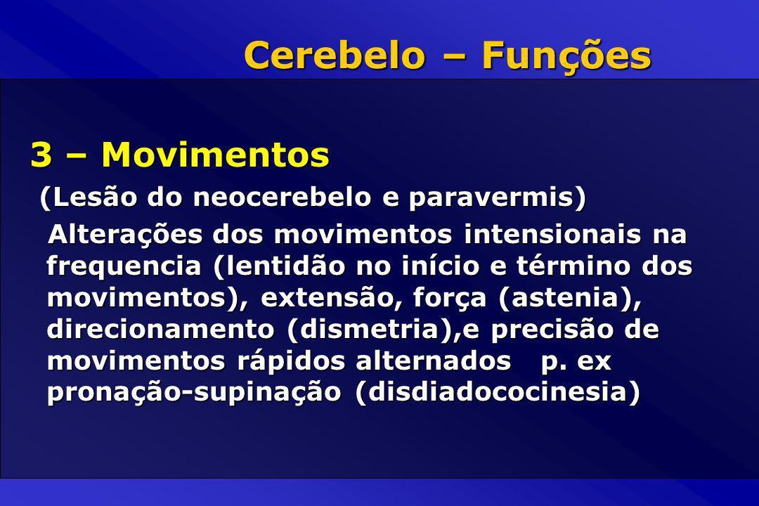 Cerebelo – Funções 3 – Movimentos (Lesão do neocerebelo e paravermis)