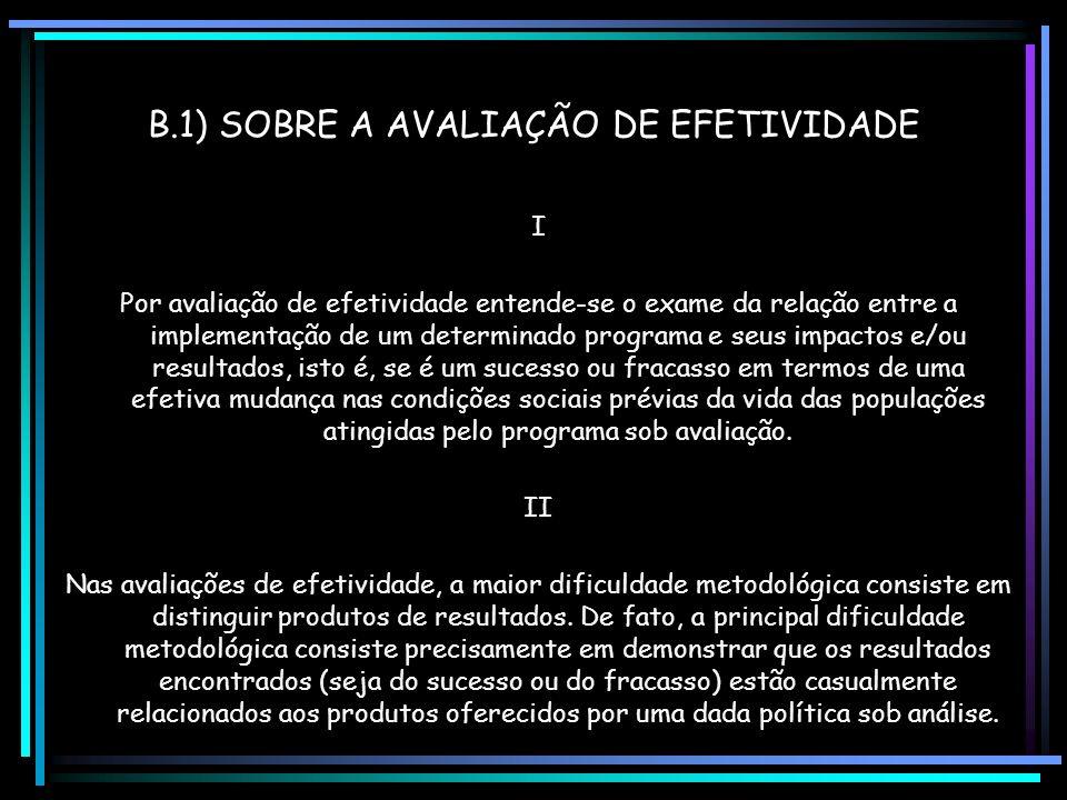 B.1) SOBRE A AVALIAÇÃO DE EFETIVIDADE