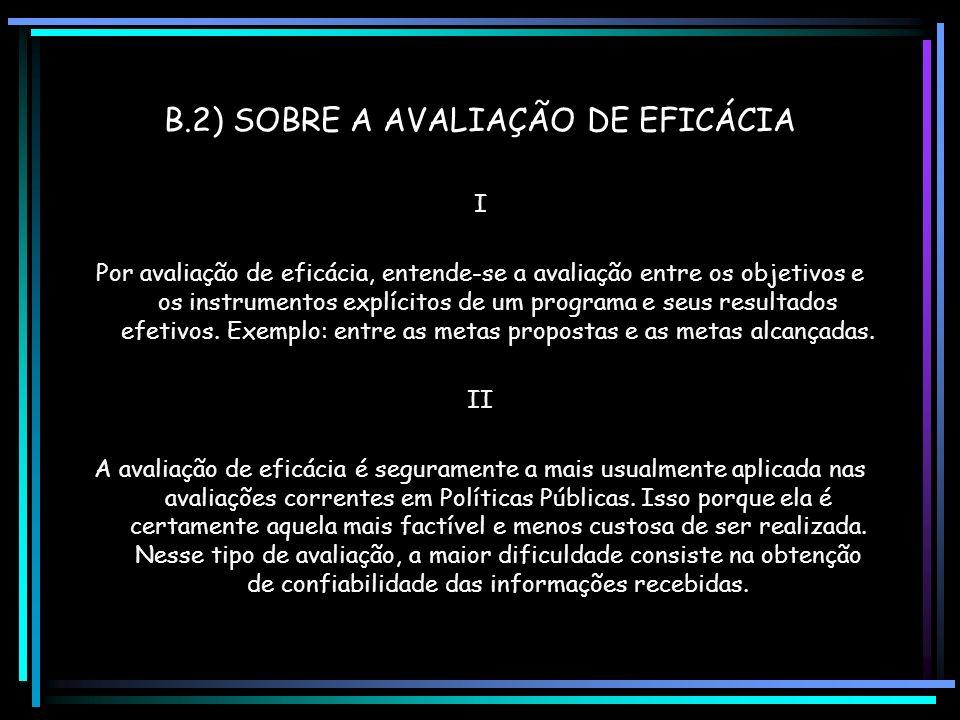 B.2) SOBRE A AVALIAÇÃO DE EFICÁCIA