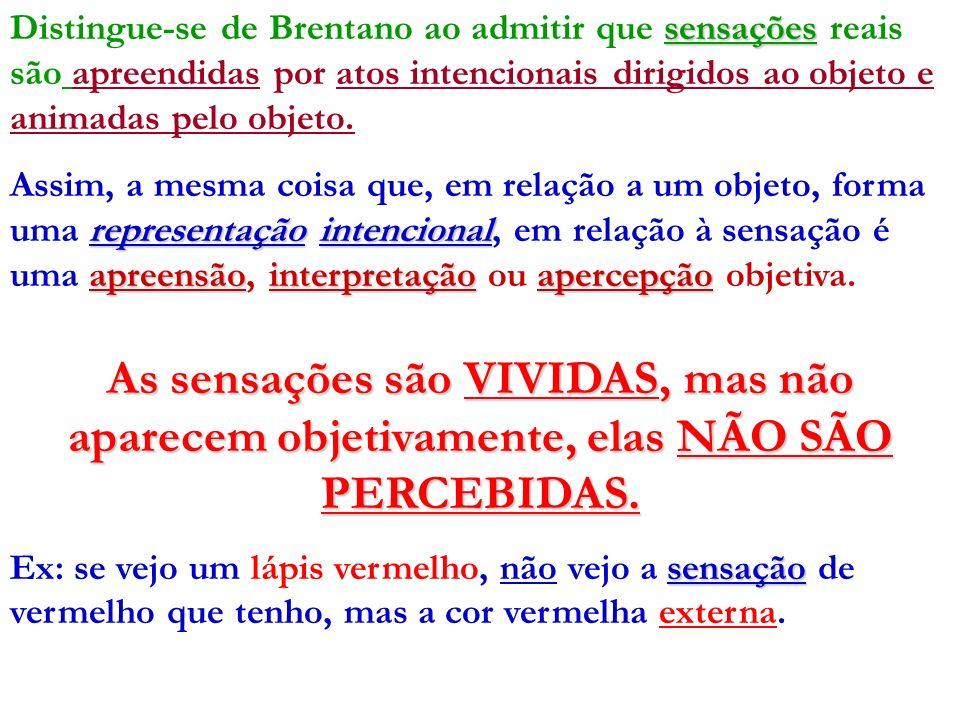 Distingue-se de Brentano ao admitir que sensações reais são apreendidas por atos intencionais dirigidos ao objeto e animadas pelo objeto.