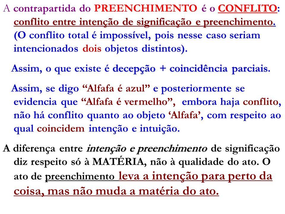 A contrapartida do PREENCHIMENTO é o CONFLITO: conflito entre intenção de significação e preenchimento. (O conflito total é impossível, pois nesse caso seriam intencionados dois objetos distintos).