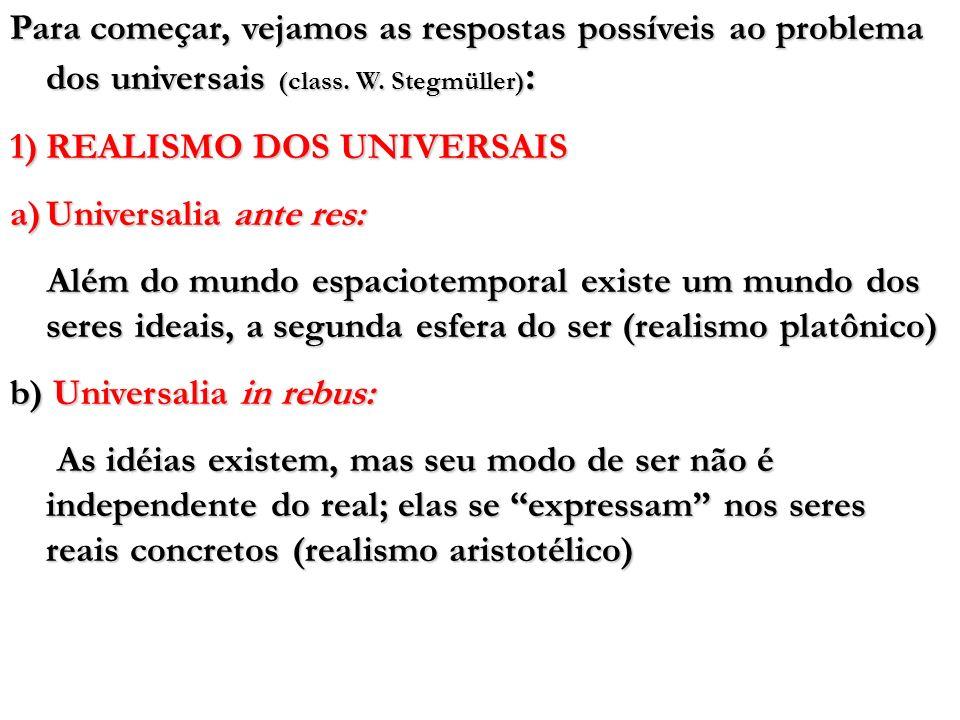 Para começar, vejamos as respostas possíveis ao problema dos universais (class. W. Stegmüller):