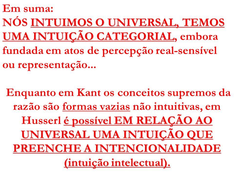 Em suma: NÓS INTUIMOS O UNIVERSAL, TEMOS UMA INTUIÇÃO CATEGORIAL, embora fundada em atos de percepção real-sensível ou representação...