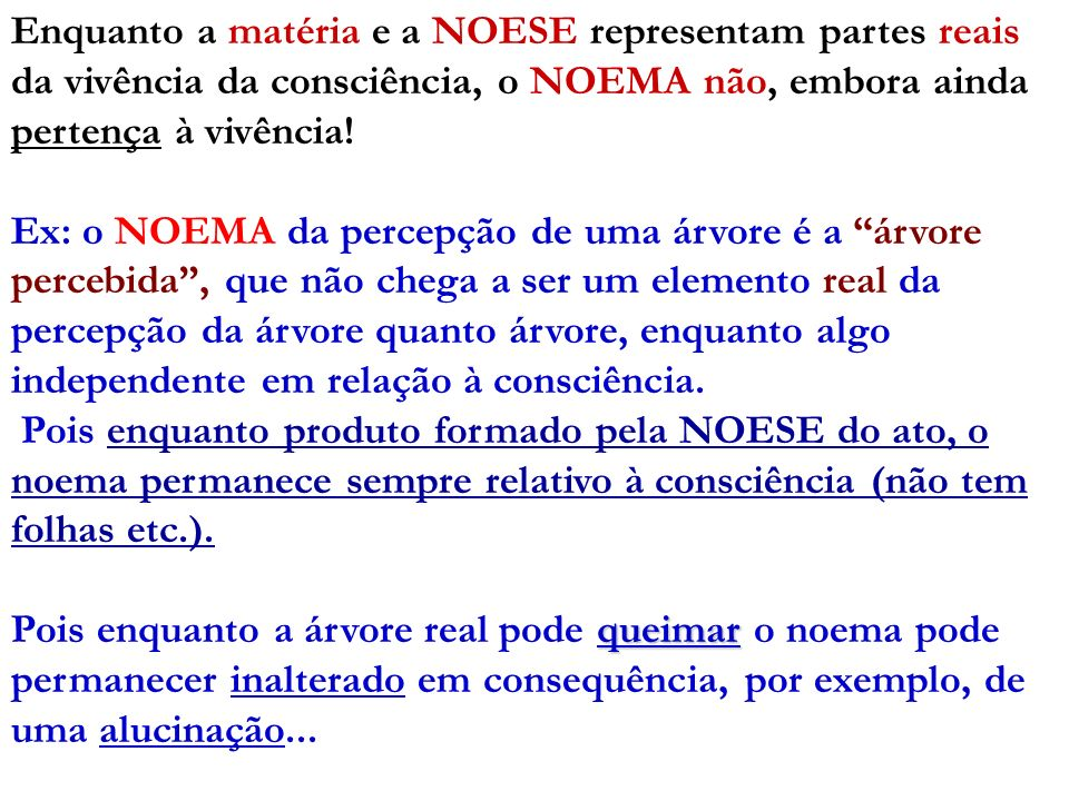 Enquanto a matéria e a NOESE representam partes reais da vivência da consciência, o NOEMA não, embora ainda pertença à vivência!