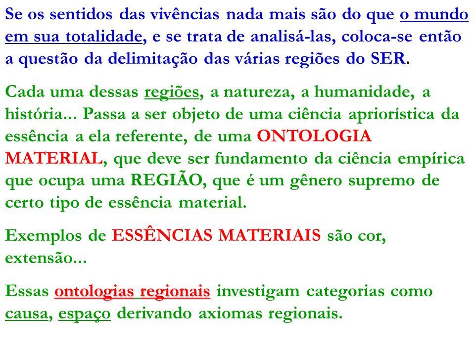Se os sentidos das vivências nada mais são do que o mundo em sua totalidade, e se trata de analisá-las, coloca-se então a questão da delimitação das várias regiões do SER.