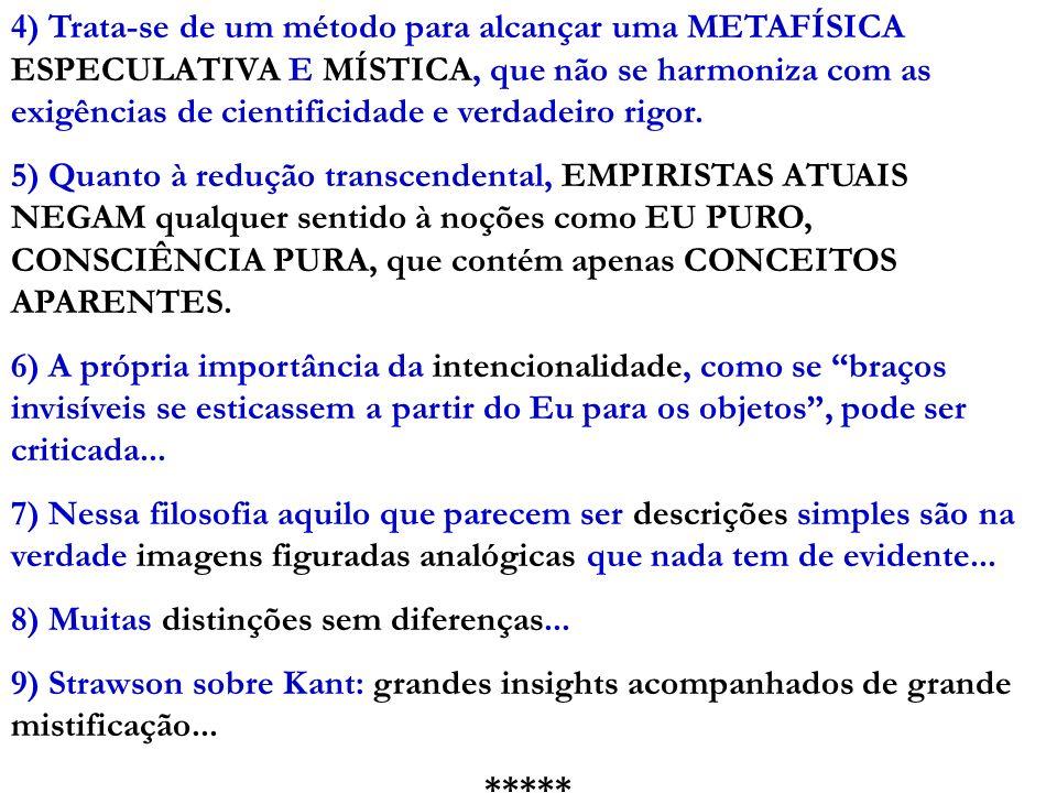 4) Trata-se de um método para alcançar uma METAFÍSICA ESPECULATIVA E MÍSTICA, que não se harmoniza com as exigências de cientificidade e verdadeiro rigor.
