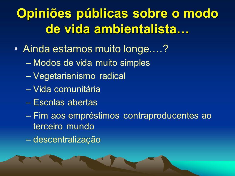 Opiniões públicas sobre o modo de vida ambientalista…