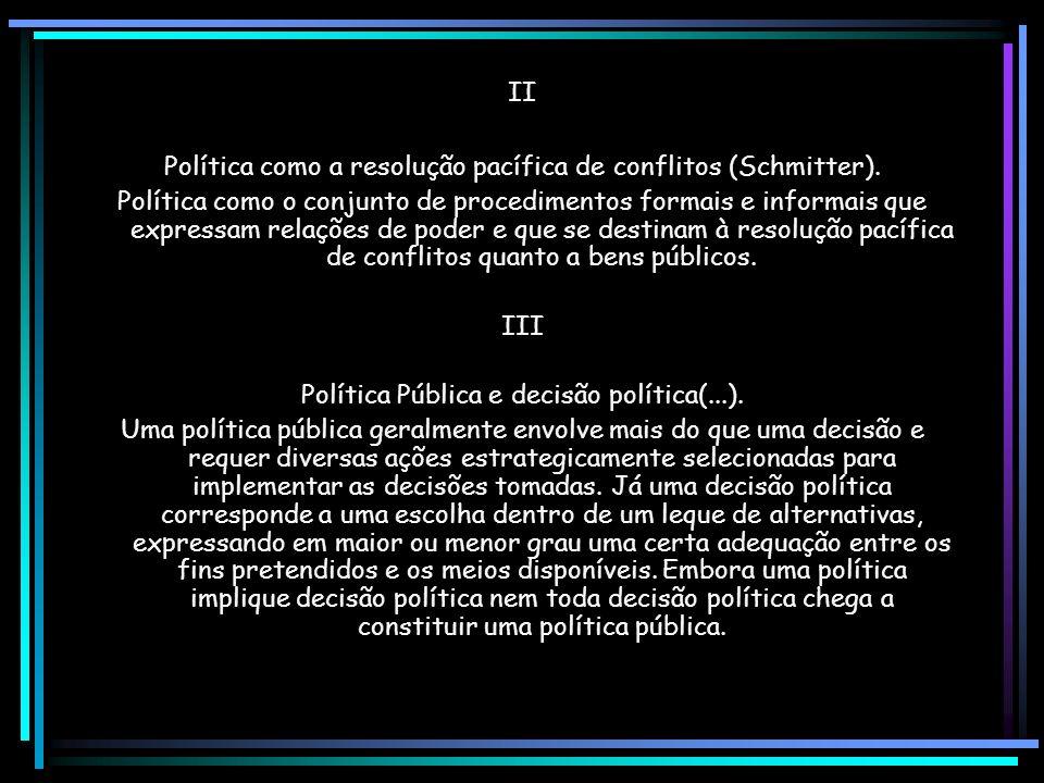 Política como a resolução pacífica de conflitos (Schmitter).