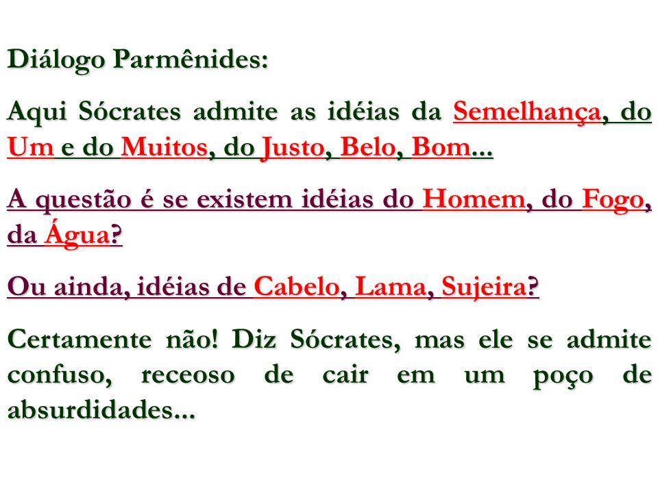 Diálogo Parmênides: Aqui Sócrates admite as idéias da Semelhança, do Um e do Muitos, do Justo, Belo, Bom...