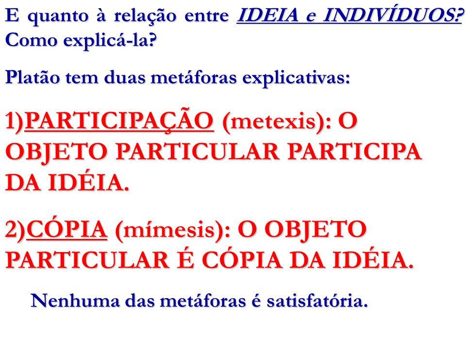 PARTICIPAÇÃO (metexis): O OBJETO PARTICULAR PARTICIPA DA IDÉIA.