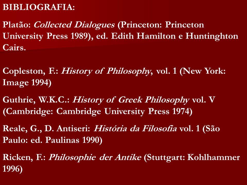 BIBLIOGRAFIA:Platão: Collected Dialogues (Princeton: Princeton University Press 1989), ed. Edith Hamilton e Huntinghton Cairs.