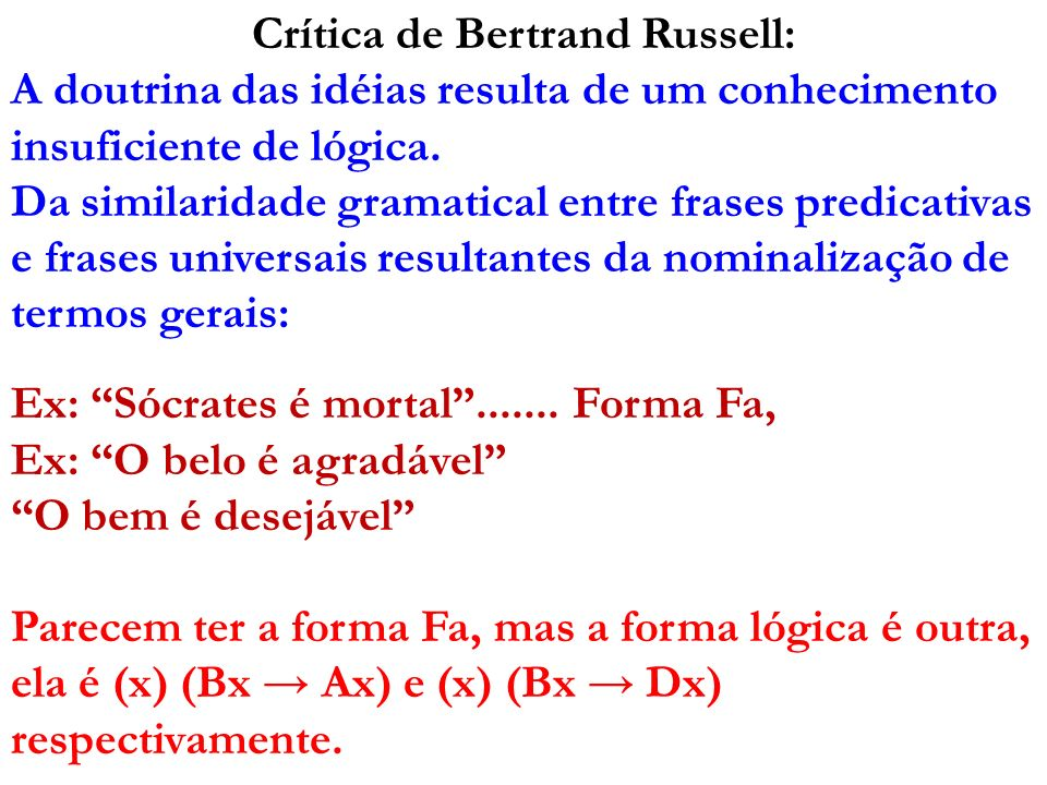Crítica de Bertrand Russell: