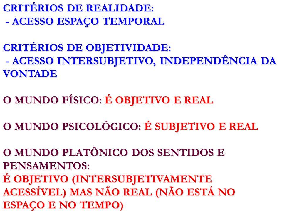 CRITÉRIOS DE REALIDADE: