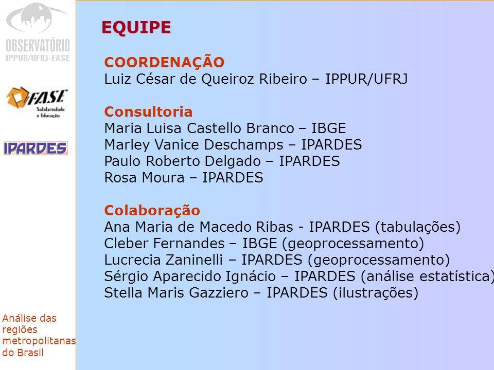EQUIPE COORDENAÇÃO Luiz César de Queiroz Ribeiro – IPPUR/UFRJ