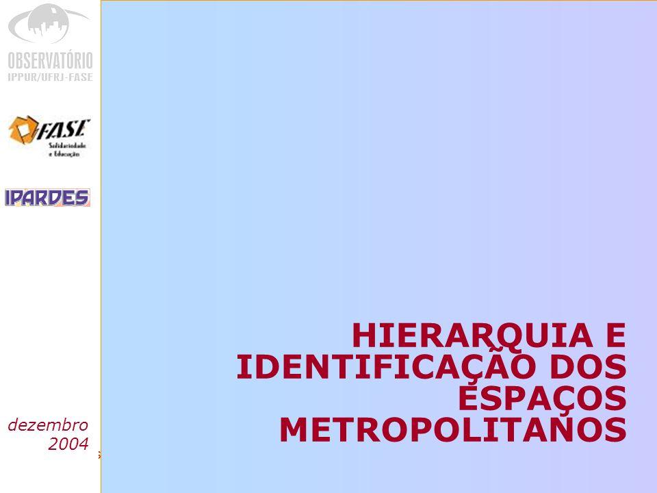HIERARQUIA E IDENTIFICAÇÃO DOS ESPAÇOS METROPOLITANOS