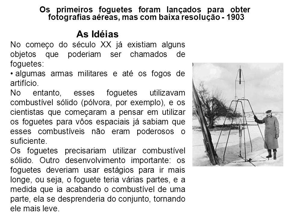 Os primeiros foguetes foram lançados para obter fotografias aéreas, mas com baixa resolução - 1903