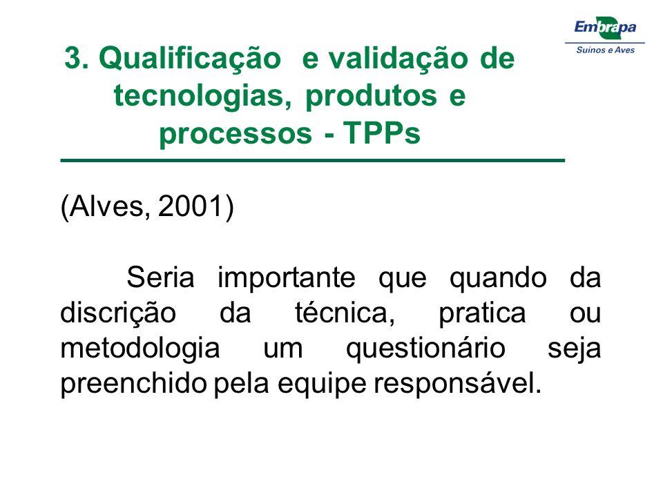 3. Qualificação e validação de tecnologias, produtos e processos - TPPs