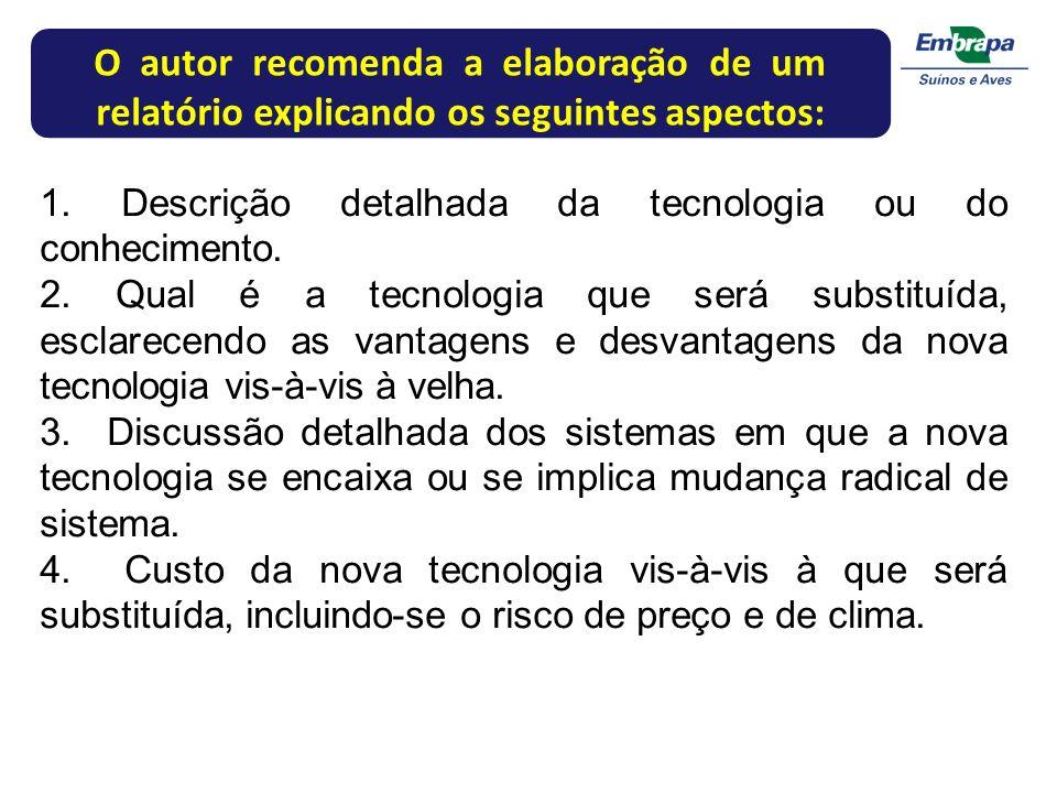 O autor recomenda a elaboração de um relatório explicando os seguintes aspectos: