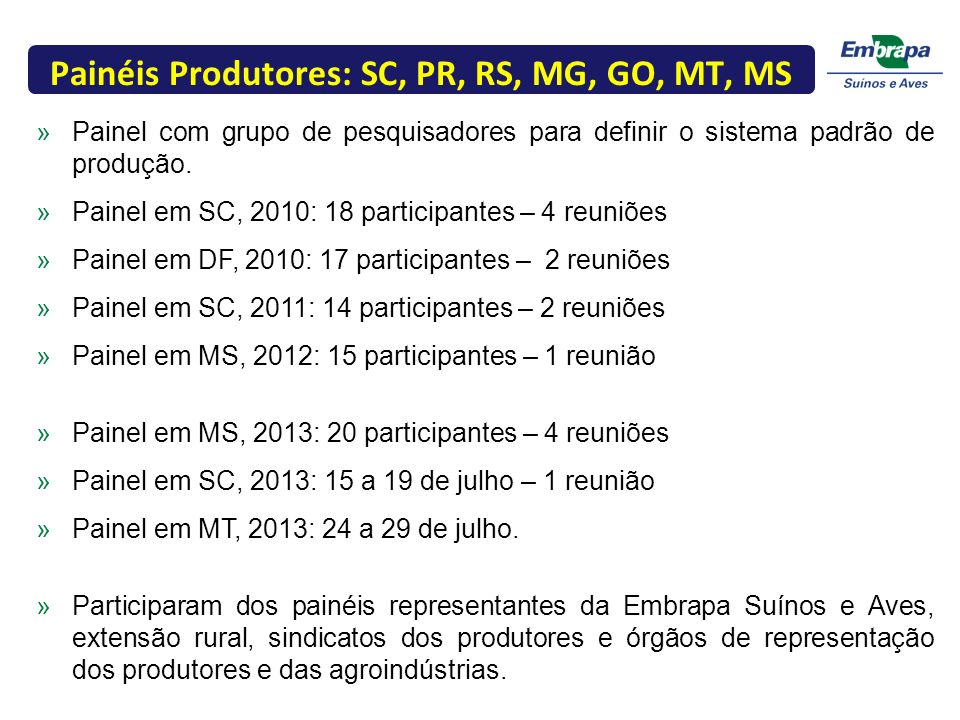 Painéis Produtores: SC, PR, RS, MG, GO, MT, MS