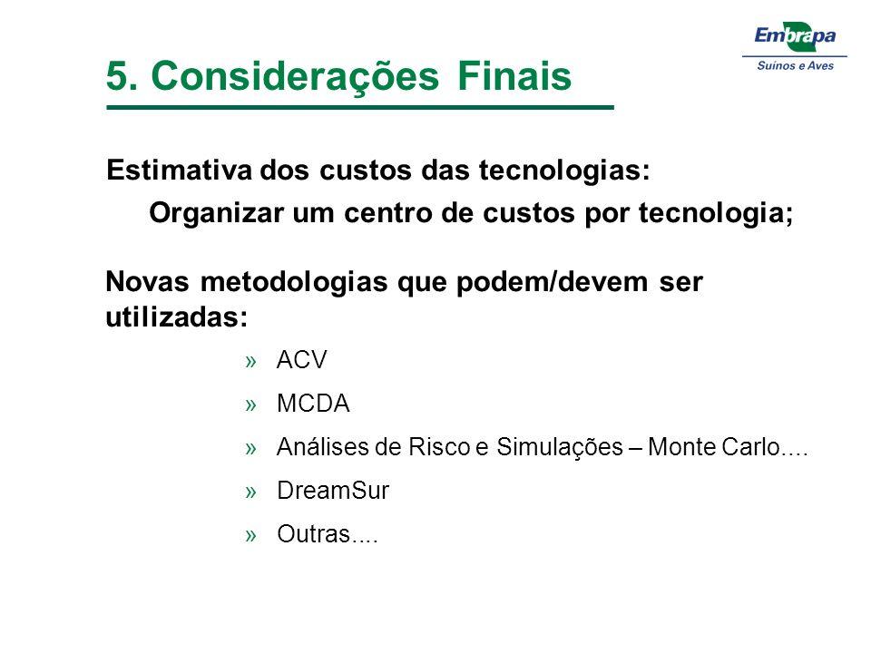 5. Considerações Finais Estimativa dos custos das tecnologias: