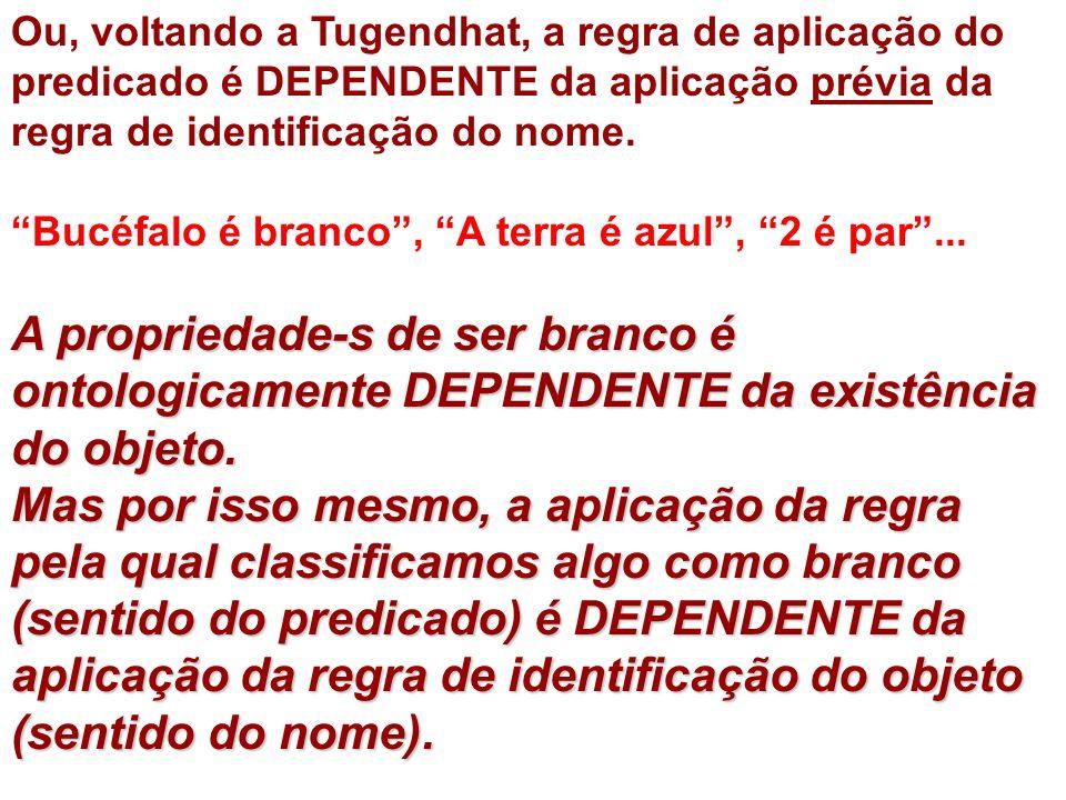 Ou, voltando a Tugendhat, a regra de aplicação do predicado é DEPENDENTE da aplicação prévia da regra de identificação do nome.