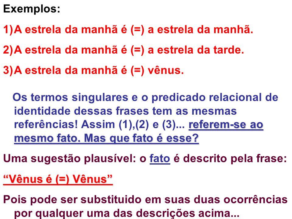 Exemplos:A estrela da manhã é (=) a estrela da manhã. A estrela da manhã é (=) a estrela da tarde. A estrela da manhã é (=) vênus.