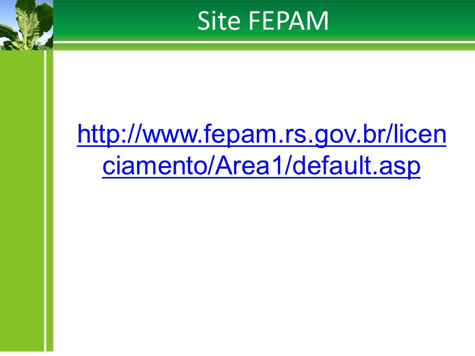 Site FEPAM http://www.fepam.rs.gov.br/licenciamento/Area1/default.asp