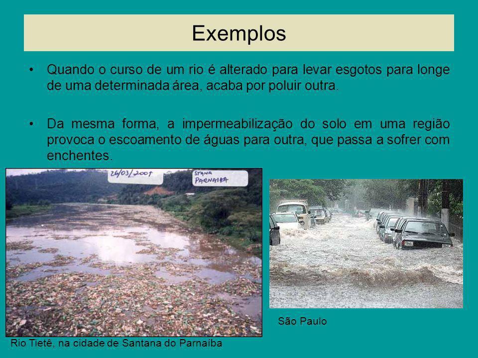 ExemplosQuando o curso de um rio é alterado para levar esgotos para longe de uma determinada área, acaba por poluir outra.