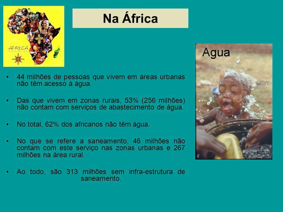 Na África44 milhões de pessoas que vivem em áreas urbanas não têm acesso à água.