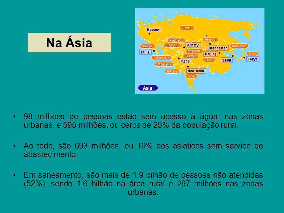 Na Ásia98 milhões de pessoas estão sem acesso à água, nas zonas urbanas, e 595 milhões, ou cerca de 25% da população rural.