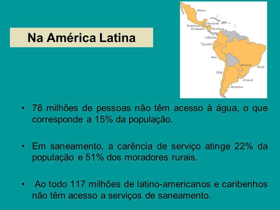Na América Latina78 milhões de pessoas não têm acesso à água, o que corresponde a 15% da população.