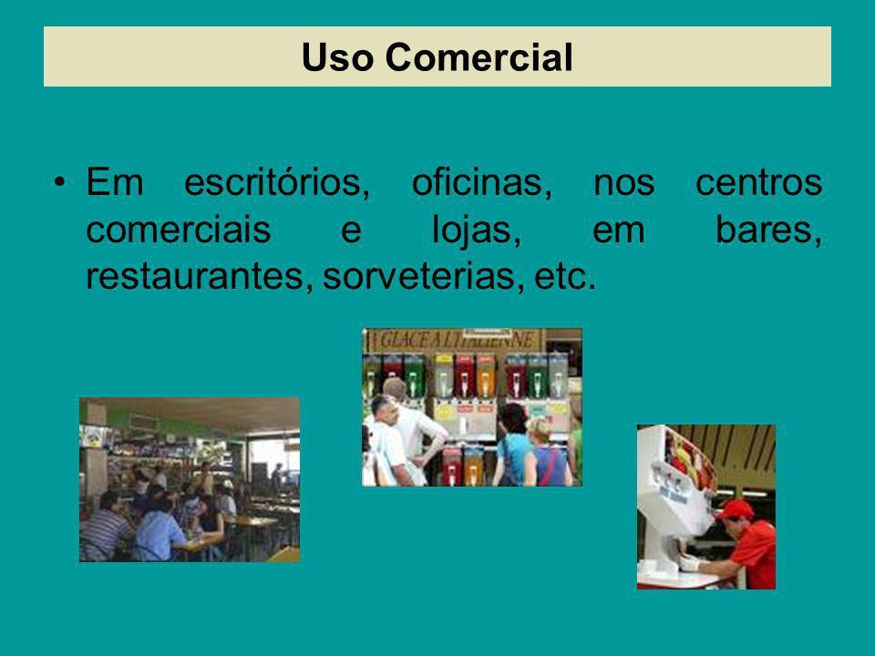 Uso ComercialEm escritórios, oficinas, nos centros comerciais e lojas, em bares, restaurantes, sorveterias, etc.