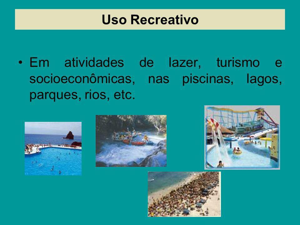 Uso RecreativoEm atividades de lazer, turismo e socioeconômicas, nas piscinas, lagos, parques, rios, etc.