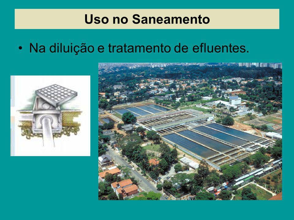 Uso no Saneamento Na diluição e tratamento de efluentes.