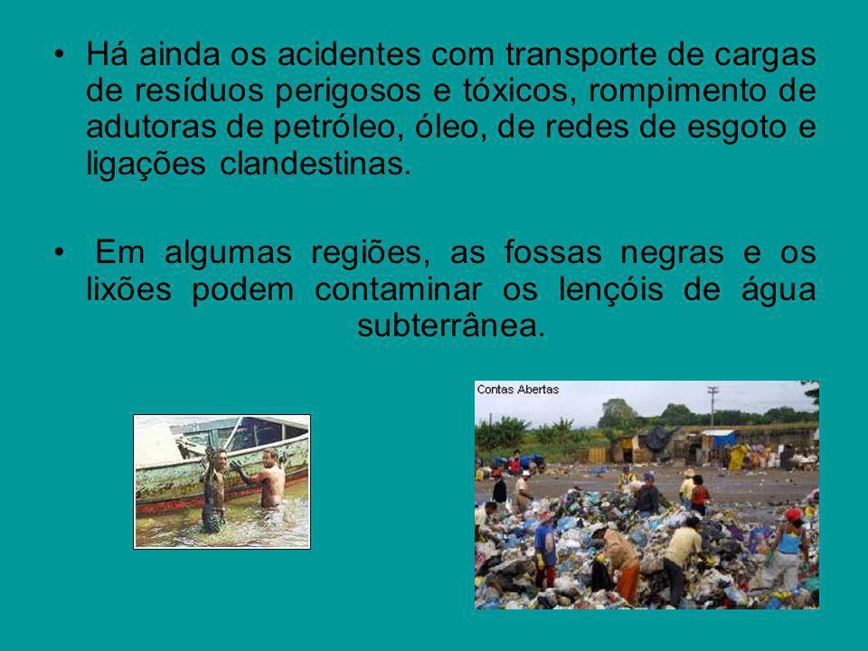 Há ainda os acidentes com transporte de cargas de resíduos perigosos e tóxicos, rompimento de adutoras de petróleo, óleo, de redes de esgoto e ligações clandestinas.