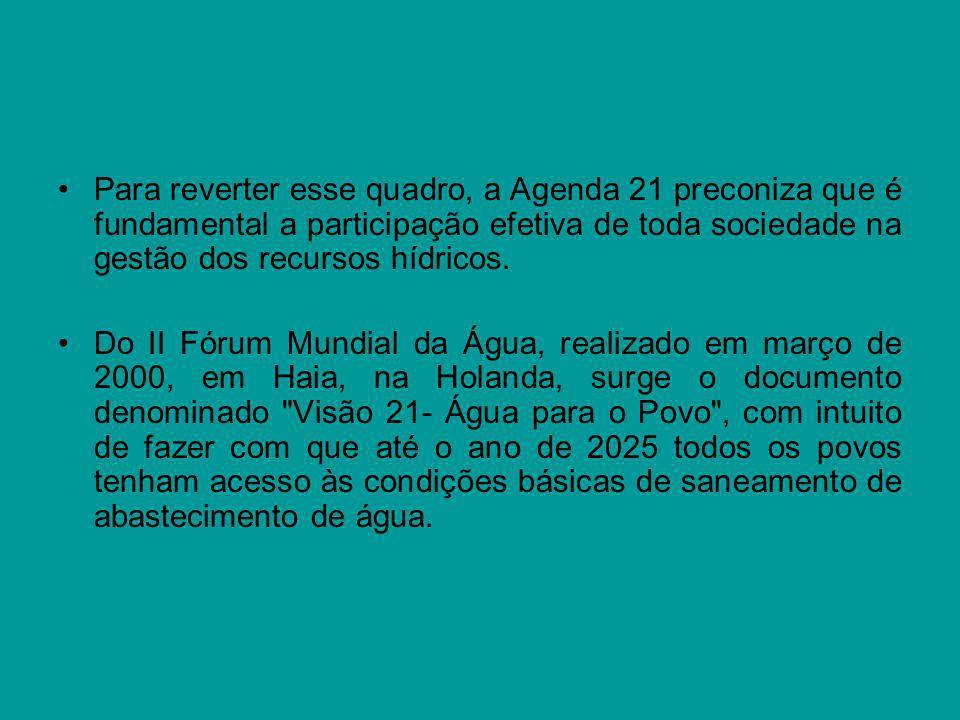 Para reverter esse quadro, a Agenda 21 preconiza que é fundamental a participação efetiva de toda sociedade na gestão dos recursos hídricos.