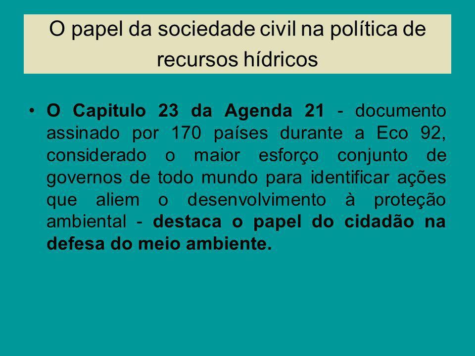O papel da sociedade civil na política de recursos hídricos