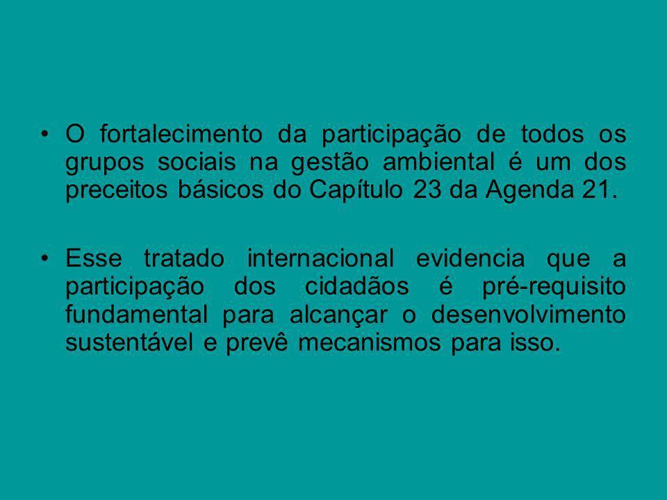 O fortalecimento da participação de todos os grupos sociais na gestão ambiental é um dos preceitos básicos do Capítulo 23 da Agenda 21.