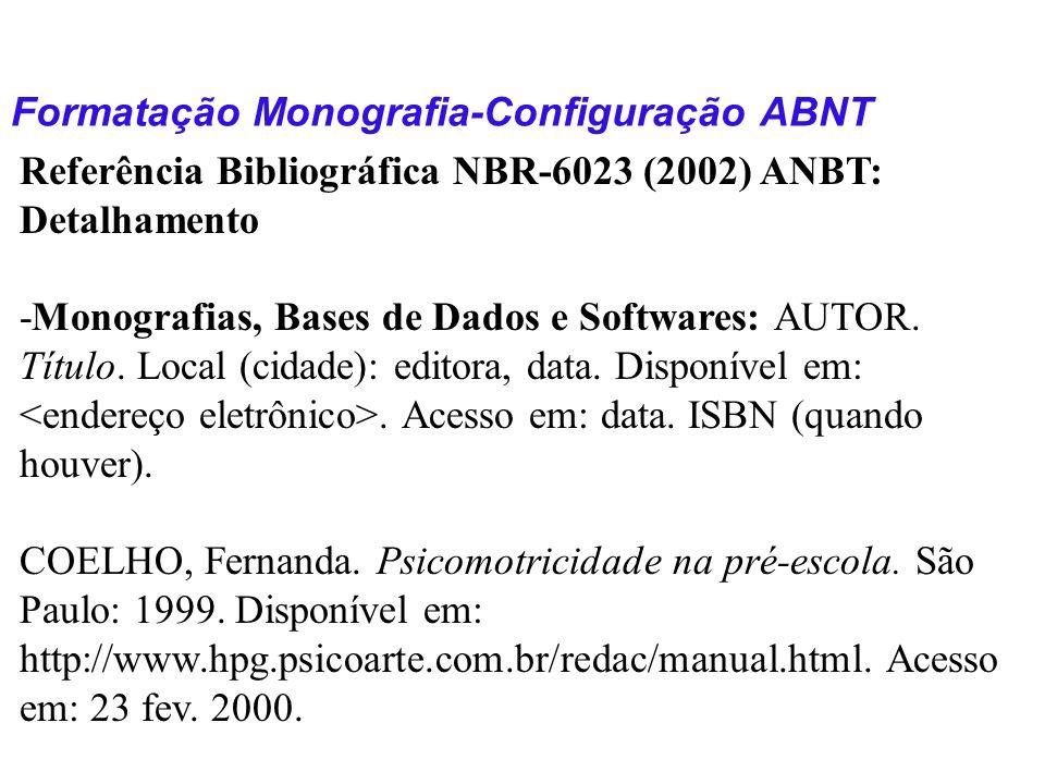 Formatação Monografia-Configuração ABNT